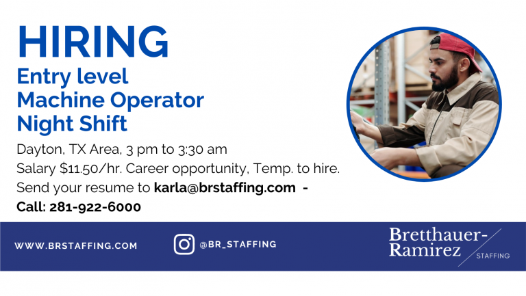 Dependable and hardworking individuals Send your resume to karla@brstaffing.com or Call 281-922-6000 (45)