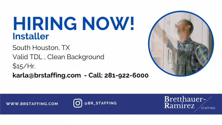 Dependable and hardworking individuals Send your resume to karla@brstaffing.com or Call 281-922-6000 (46)