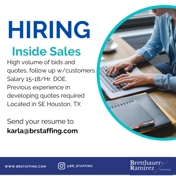 Business to business sales and operations. Base salary 31,000.00 a year. Located Near Hobby Send your resume to karla@brstaffing.com (2)